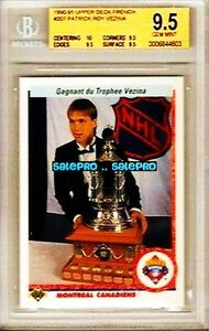 UPPER-DECK-1990-PATRICK-ROY-RARE-CANADIENS-VEZINA-TROPHY-FRENCH-GRADED-BGS-9-5