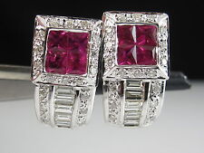 18K Ruby Diamond Earrings White Gold Fine Jewelry Drop Dangle Half Hoop