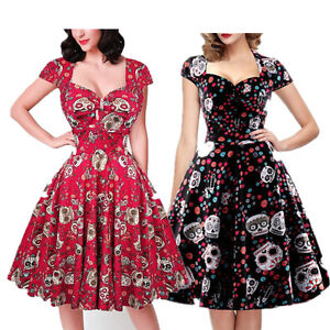 6f811f1fa89 Image is loading Vintage-Retro-50s-Swing-Skull-Gothic-Dress-Women-