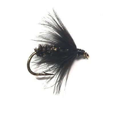 6 x Black Spider Fly Fishing Wet Flies For Trout and Salmon