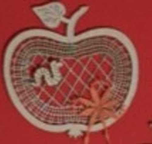 114//A Klöppeln Klöppelbrief Klöppelset Apfel mini aufgesetzt inkl Brief Rahmen
