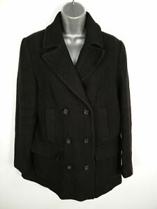 WOMENS-NEXT-BLACK-TEXTURED-BUTTON-UP-DOUBLE-BREASTED-SMART-PEA-COAT-UK-SIZE-16