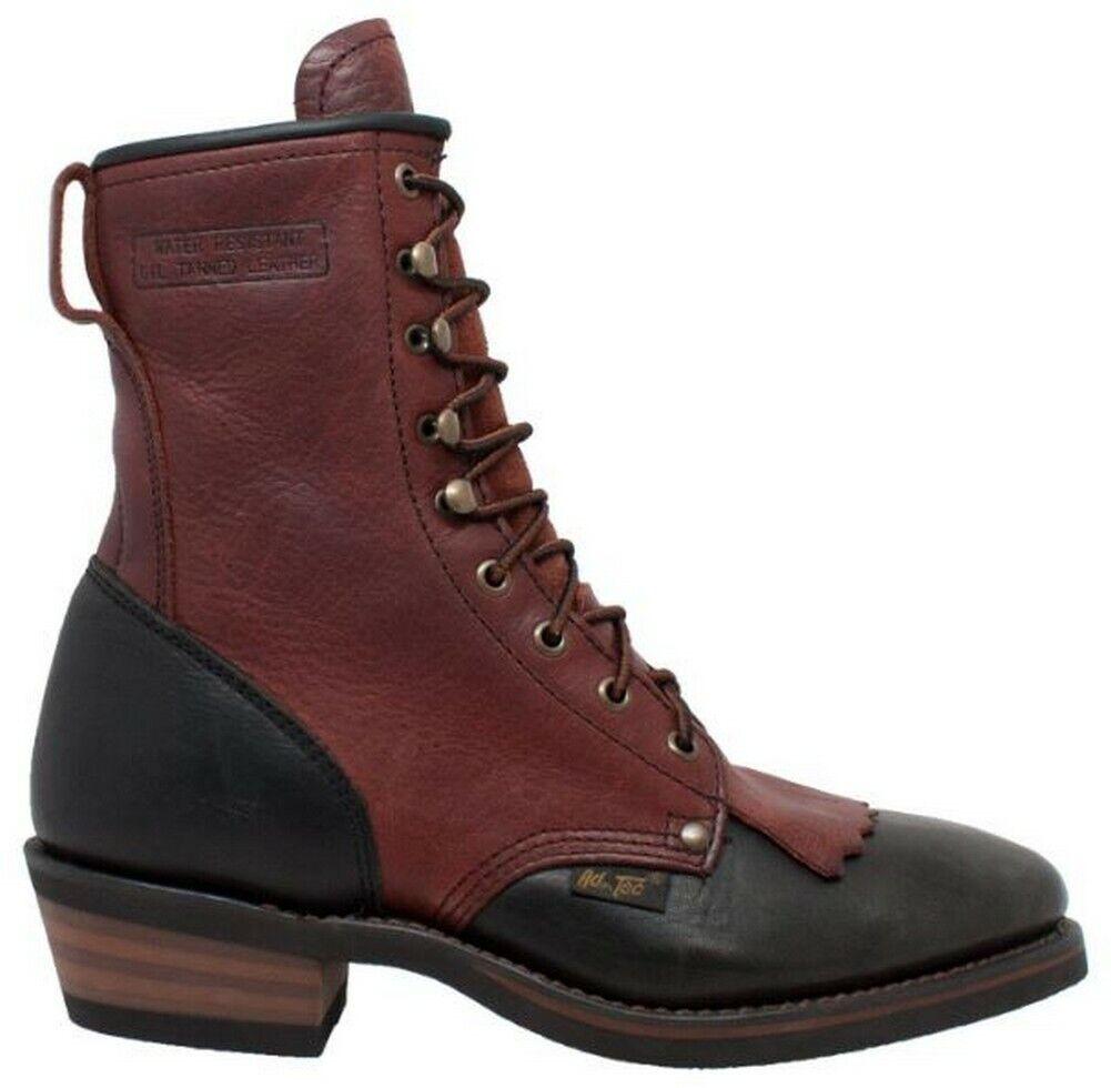 AdTec Hombre Cuero Puntera 9  Packer Suave Encaje botas Castaño Negro 1179 occidental