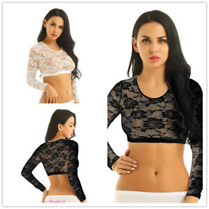 Womens-Long-Sleeves-Lace-Floral-Blouse-Shirt-Scoop-Neck-Crop-Top-Summer-Casual