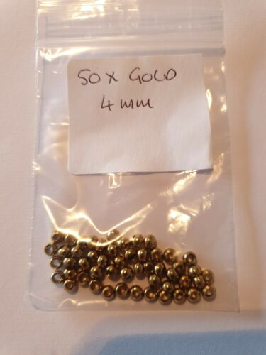 PACK Of 50 x GOLD 4mm Beads Fly Tying