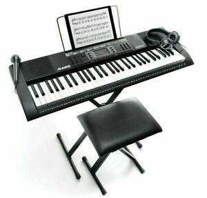 Alesis Harmony 61 MKII 61-Key Portable Keyboard with Headphones, Mic & Bench