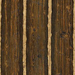 Buy Brewster Tll41382 Log Cabin Brown Wood Paneling Wallpaper Online
