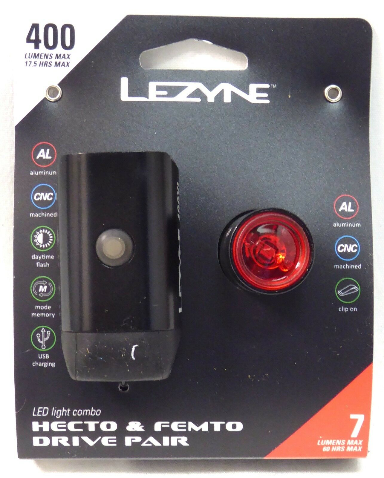 Lezyne Hecto 400XL and  Femto Drive Pair Front Rear  good quality