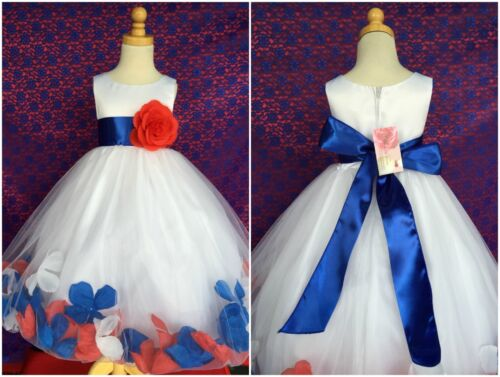 Red White Royal Blue 4th Of July Summer Toddler Girl Wedding Recital Girl #24