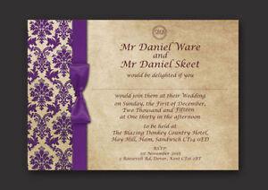 La Imagen Se Está Cargando Purpura Beige Damasco Personalizado Boda Invitaciones Dia Por