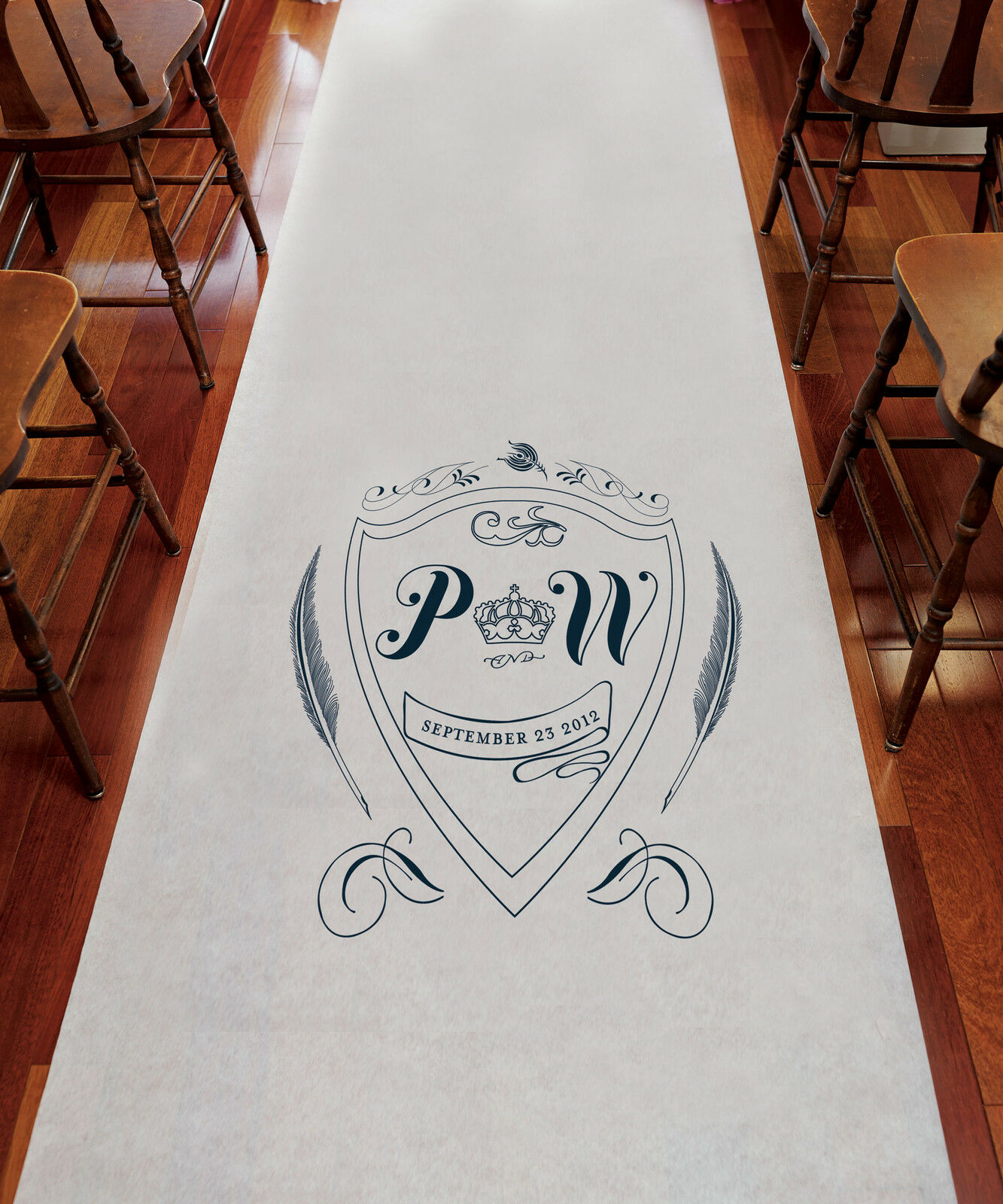 Regal Monogram PERSONALIZED Aisle Runner Wedding Ceremony Decoration