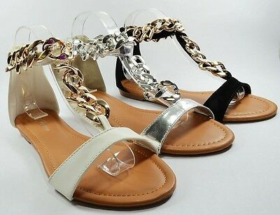 Women Sandals Ankle High Strap Fashion Sexy Style Gold Chain Design Shoes