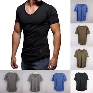 Sommer-Herren-Kurzarm-Muskelshirt-Basic-Tee-Casual-T-Shirts-Tops-Rundhals-Shirts