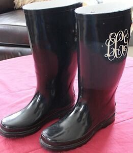 STONE CREEK SOLID BLACK KNEE HIGH RUBBER RAIN BOOTS INITIALS LCG ...