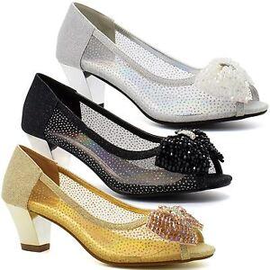 932f4654b1a3 Womens Diamante Sparkling Low Kitten Block Heel Shoes Ladies ...