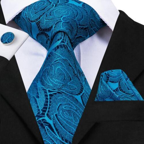 100 Men/'s Tie Necktie Set Silk Paisley Novelty Checks Striped Hanky+Cufflinks