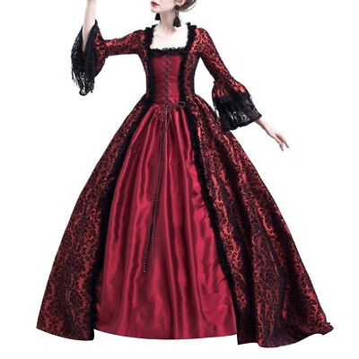 Women Medieval Renaissance Gothic Lace Up Dress+Top Splice Set Halloween Cosplay