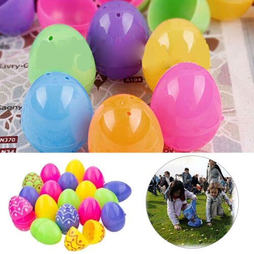 12//24x Easter Plastic Eggs 2 Part Fillable Party Favor Toy Filler Surprise Hunt
