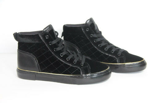 Guess terciopelo zapatillas mujer alta alta alta Top zapatos Moda acolchado negro Sz 7.5 Nuevo 83a505