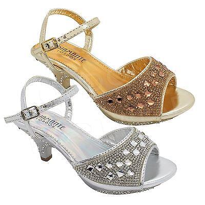 UK Girls childrens Toddler Kids low heel Diamante Party Shoes Bridesmaid Sandals