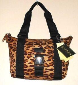 Womens VTG Ralph Lauren Leopard Print Brown Tan Black Silver Purse ... e1c07f871153f