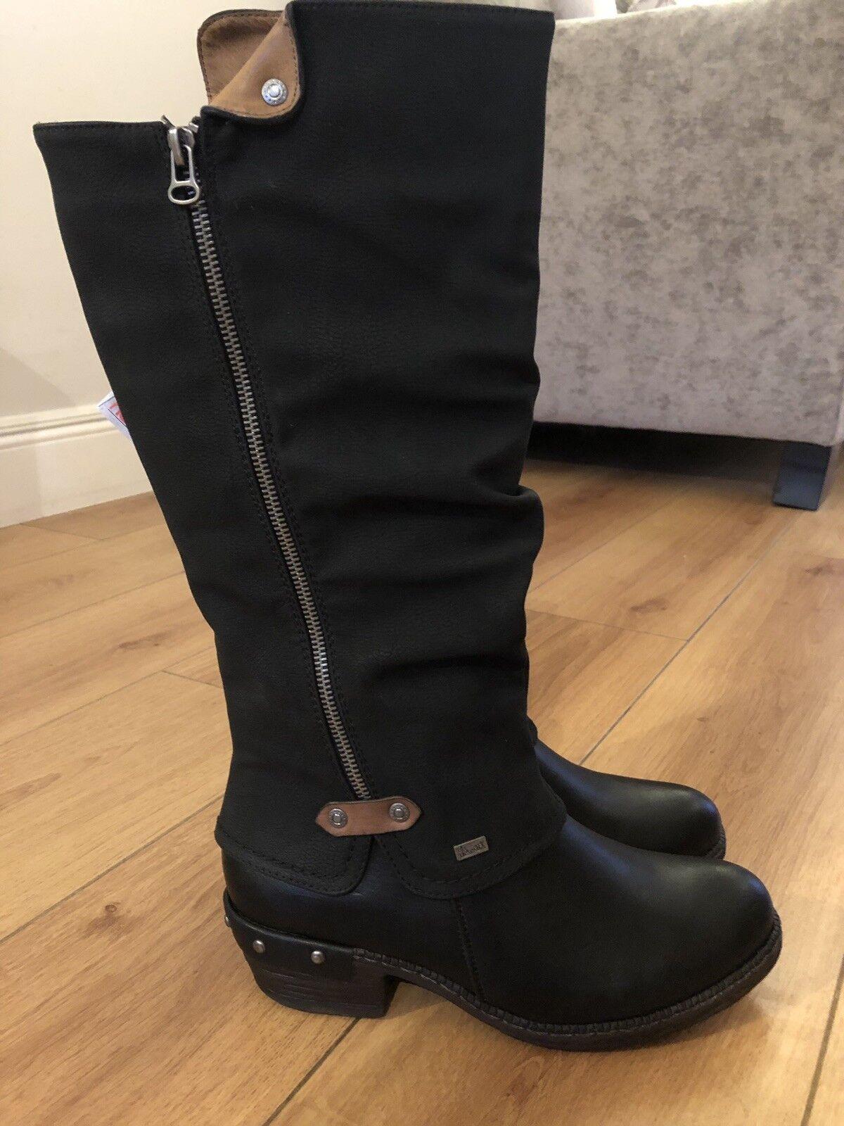 A estrenar Reiker Damas Cremallera botas Largas-Resistente al Agua Agua Agua Negro Cuero UK 6.5 40  online al mejor precio