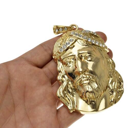 Big Jesus Piece Hip Hop Pendant Gold Finish Iced Out Crown Bling Mens Huge Charm