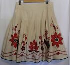 LAURA ASHLEY ~ Cream Cotton Full Skirt w Folk Embroidered Floral Sequins 14