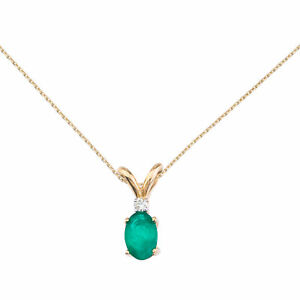14k-Yellow-Gold-Emerald-and-Diamond-Oval-Pendant-with-18-034-Chain