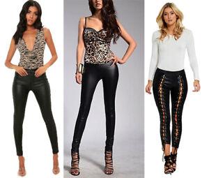 Legging Wet Look Para Mujer Ajustado Lapiz Pantalones Skinny Jeans Pantalon Mirada De Cuero Ebay