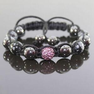 Das Bild wird geladen Damen-Haematit-Flocken-Perlen-Shamballa-Armband-mit- pink- 3f0d1b182a47d
