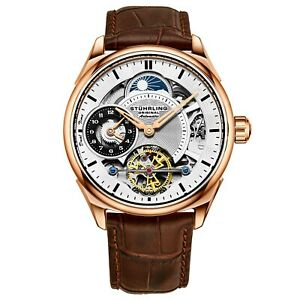 Stuhrling-Men-039-s-Skeleton-Dual-Time-Rose-Gold-Plated-AM-PM-Leather-Strap-Watch