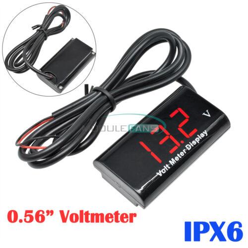 """IPX6 0.56/"""" Digital Volt Meter DC12V 2 Lines LED Red Waterproof Voltmeter For Car"""