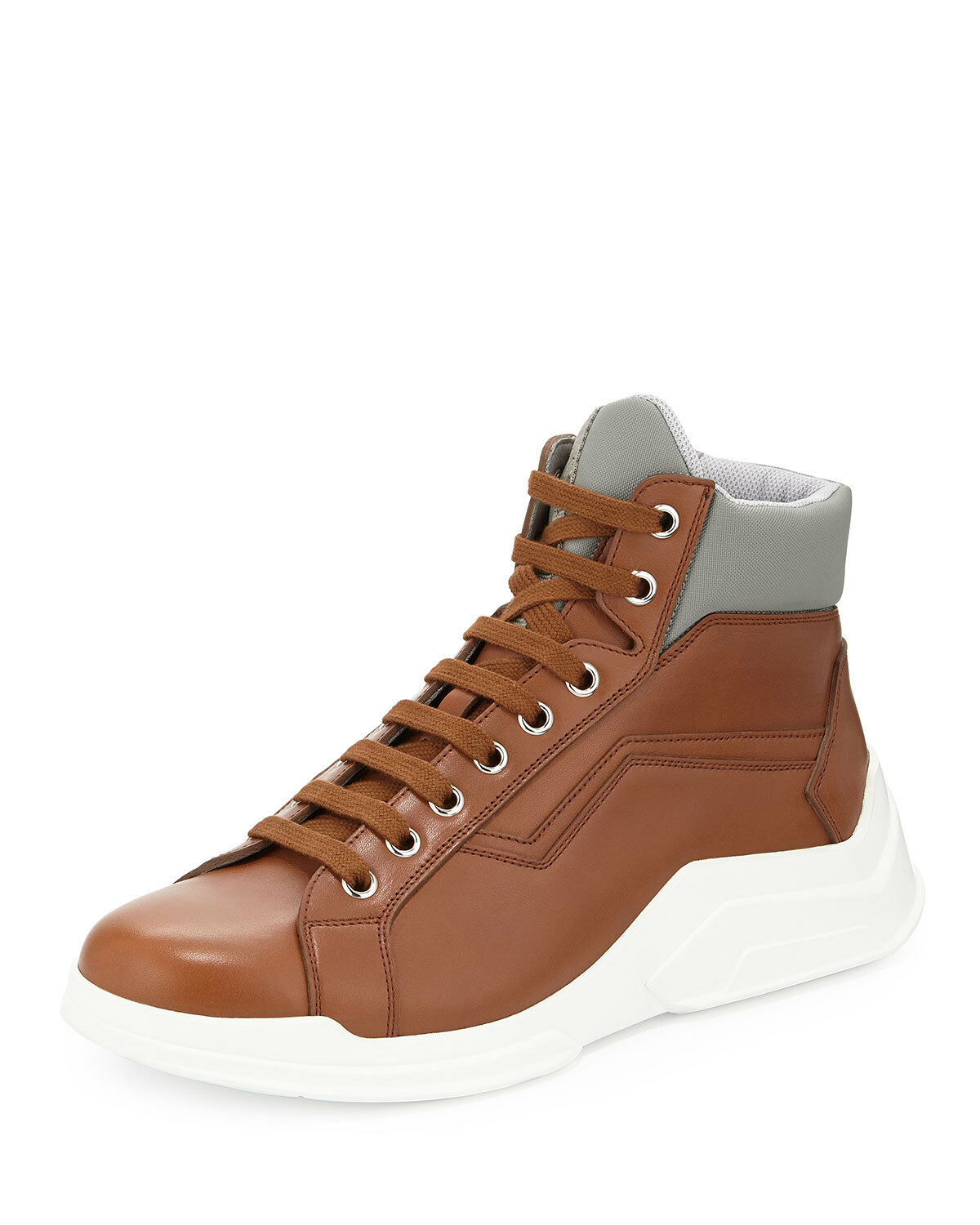 100% AUTH NEW MEN PRADA NOVO CALF BROWN SHOW HIGH TOP SNEAKERS  US 9.5
