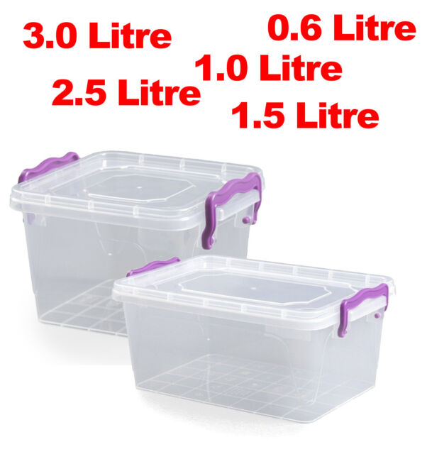 10 x Large 13 Litre Clip Handle Plastic Clear Storage Food Box Container 021122