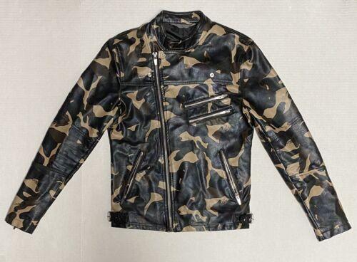 Zara Man Camouflage Faux Leather Biker Jacket Size