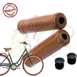 Dettagli Su Coppia Manopole Ecopelle Marroni City Bike Bici Bicicletta Vintage Epoca Pelle