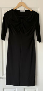 DAVID-NIEPER-ENGLAND-BLACK-SLINKY-TWIST-DRESS-UK-10-MIDI