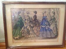 ANTIQUE 1870s BLACK WALNUT FRAME 10x13 Godey's Fashions For October 1869