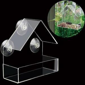 Clear House Window Bird Feeder Birdhouse W/Suction Outdoor Garden Feeding 2021