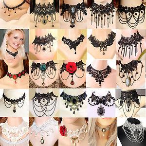Black-Lace-Necklace-Collar-Choker-Velvet-Victorian-Vintage-Gothic-Chain-Pendant