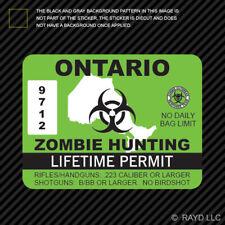 Ontario Zombie Hunting Permit Sticker Decal Self Adhesive Vinyl Canada On