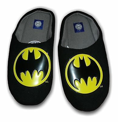Para Hombre Zapatillas Mula Novedad Batman 2 textil Resbalón En Negro Tamaños 7-12 Dc Comics