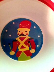 "Imported From Abroad Bowl Nutcracker Drummer Red Hat Coat 5 1/2 "" Round Red Rim Kids Dishwasher Ok In Many Styles Feeding Baby"