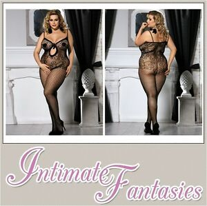 7320c1c02da Image is loading Sexy-Black-Floral-Fishnet-Bodystocking-Crotchless-Plus-Size -