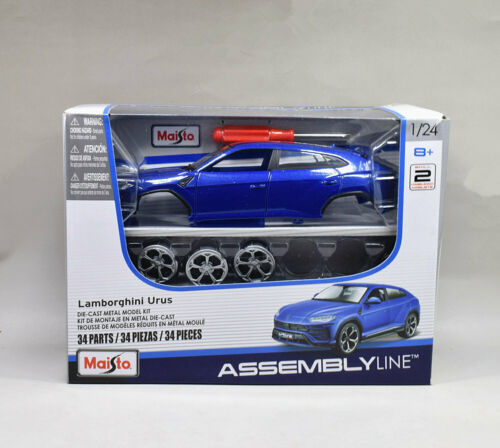 Maisto 1:24 Lamborghini Urus Metal Assembly Line KIT Model Car Blue