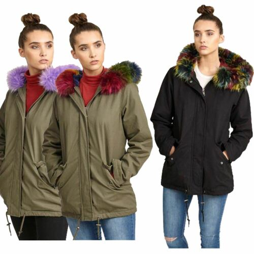 Donna In Finta Pelliccia Parka con cappuccio Trim dettaglio Caldo Inverno Giacche 8-16