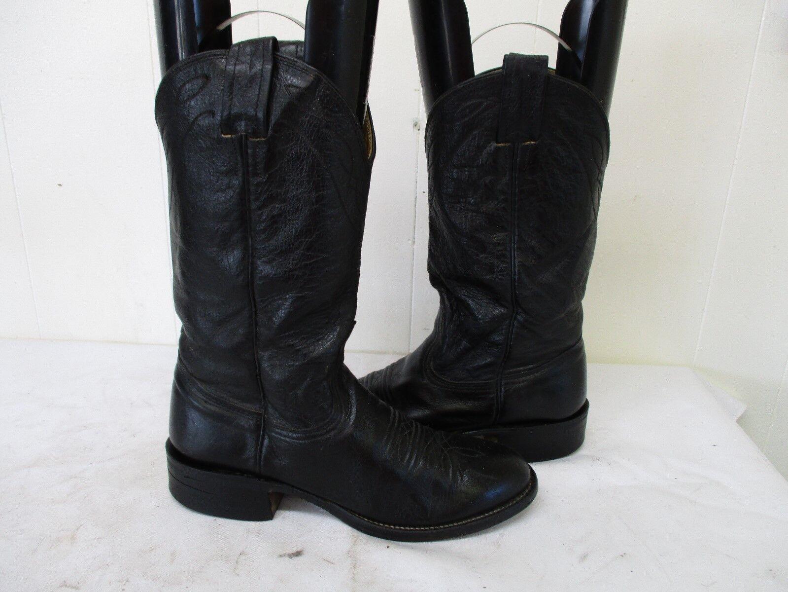 NOCONA Black Leather Cowboy Boots Womens Size 6 B Style 3001 USA