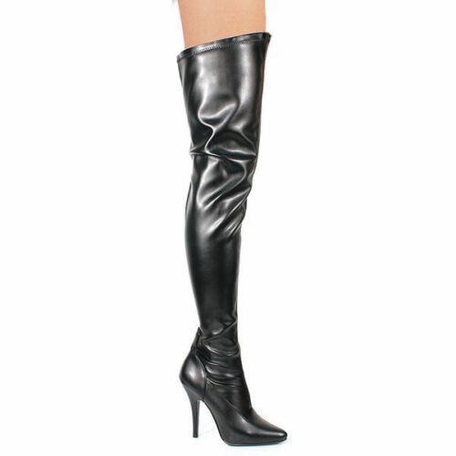 Pleaser Stiletto High-Heels Overkneestiefel Seduce-3000 schwarz Lederoptik 36-47