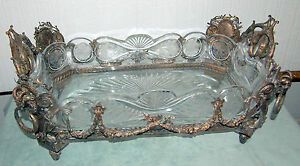 CENTER-PIECE-RARE-STERLING-amp-CRYSTAL-BOWL-19-C-FRENCH-W-4-RAMS-HEAD-3800-GR
